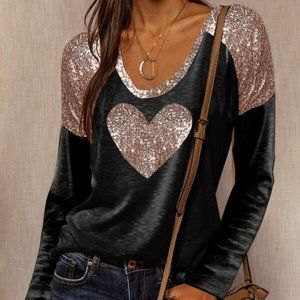 Sequin Heart Round Neck Long Sleeves Casual Top